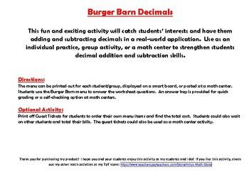 Burger Barn Decimals