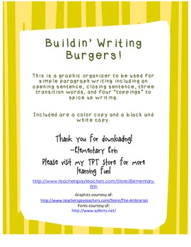 Burger Buildin' Writing Graphic Organizer