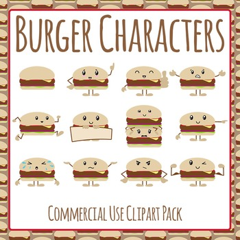 Burger Characters Clip Art Pack for Commercial Use