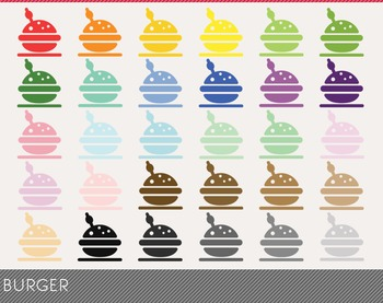 Burger Digital Clipart, Burger Graphics,Burger PNG,Rainbow Burger Digital Files