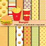 Burger Digital Paper + Clipart