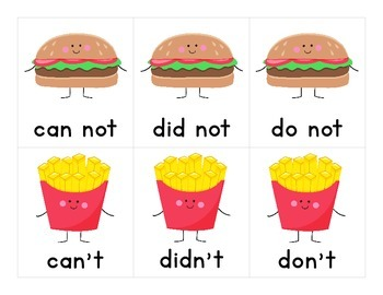 Burger & Fries Contractions Matching Game