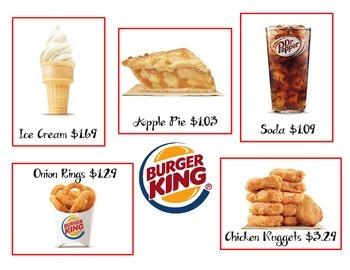 Burger King Menu Math Center