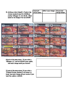 Burger King Menu Worksheet; Real World Math; CBI