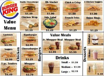 Burger King Money Menu Math By Empowered THEM
