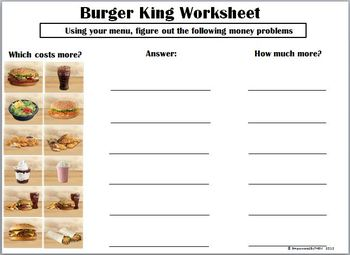 burger king money menu math by empowered by them  tpt burger king money menu math