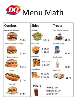 Burger King and Dairy Queen Menu Math Bundle