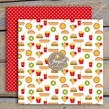 Burgers Fries Digital Papers and Cliparts