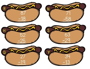 Burgers and Dogs 2 Digit Subtraction w/regrouping sort 2nd Grade