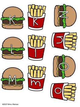Burgers and Fries: Alphabet Uppercase and Lowercase - Literacy Centre