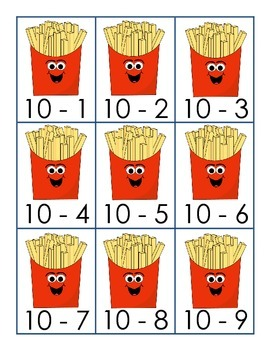 Burgers and Fries Subtraction From 10 Match 1.OA.6