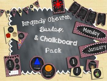 Burgundy Chevron, Burlap, and Chalkboard Pack
