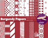 Burgundy Digital Papers for Backgrounds, Scrapbooking and