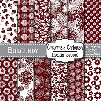 Burgundy Floral Digital Paper 1426