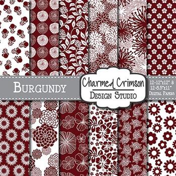 Burgundy Floral Digital Paper 1426