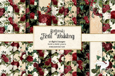 Burgundy Floral Wedding Digital Paper