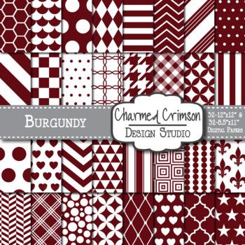 Burgundy Red Geometric Basic Digital Paper 1140