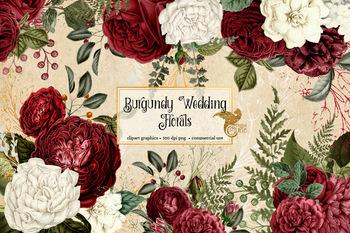 Burgundy Wedding Floral Clip Art, vintage antique flower illustrations