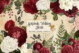 Burgundy Wedding Floral Clip Art, vintage antique flower i