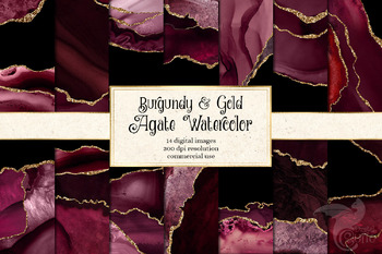 Burgundy and Gold Agate Watercolor Backgrounds