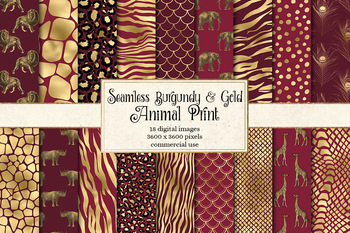 Burgundy and Gold Animal Skins, seamless digital paper patterns