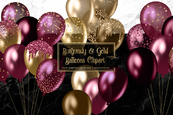 Burgundy and Gold Balloons Clipart