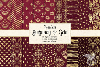 Burgundy and Gold Digital Paper, seamless patterns gold foil backgrounds