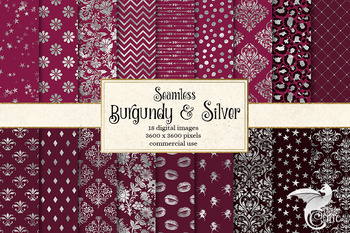 Burgundy and Silver Digital Paper, seamless backgrounds and patterns