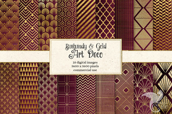 Burgundy and gold Art Deco digital paper backgrounds
