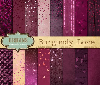 Burgundy love valentine hearts digital paper backgrounds valentines day textures