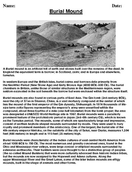 Burial Mound Description/Article reading and Homework Assignment