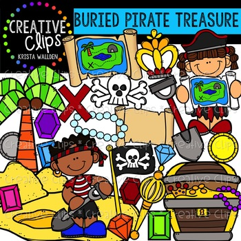 Buried Pirate Treasure Clipart {Creative Clips Clipart}
