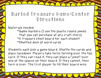 Buried Treasure: A Printable Fry Frequently Used Word Learning Center