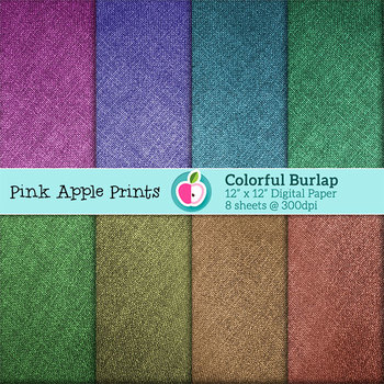 Colorful Burlap Style Digital Papers Set: Graphics for Teachers