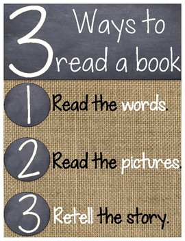Burlap 3 Ways to Read a Book Poster