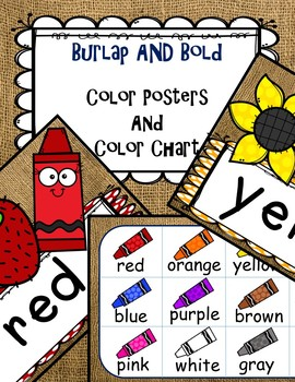 Burlap AND Bold Colors - Color Posters and Color Chart