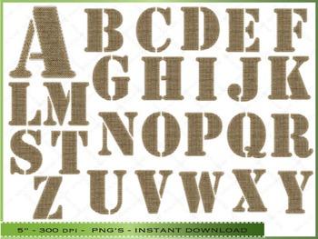 Burlap Alphabet Digital Clipart