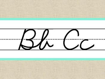 Burlap Alphabet Line Cursive