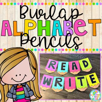 Burlap Alphabet Pencils