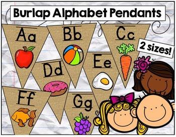 Burlap Alphabet Pendants in 2 sizes