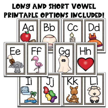 Burlap Alphabet Posters with Phonetic Picture Support