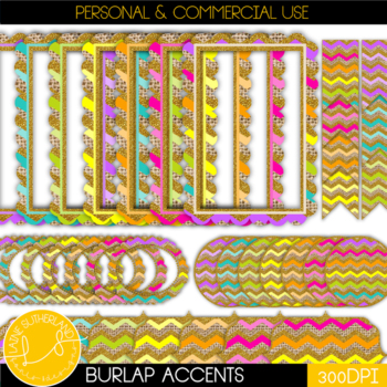 Burlap Badges, Banners and Borders (Brights)