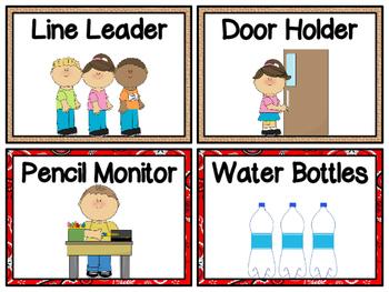 Burlap & Bandanas Western Classroom Jobs Display & Clip Chart