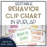 EDITABLE Burlap Behavior Clip Chart