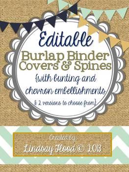 Burlap Binder Covers & Spines: Bunting & Chevron {Editable}