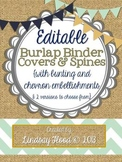 Burlap Binder Covers & Spines: Bunting & Chevron {Editable}