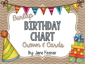 Burlap Birthday Chart, Crown and Cards