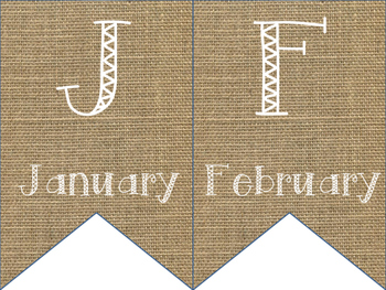 Burlap Birthday Month Banner