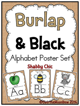 Burlap & Black Alphabet Poster Set