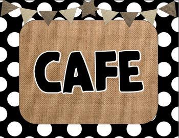 Burlap & Black CAFE Signs